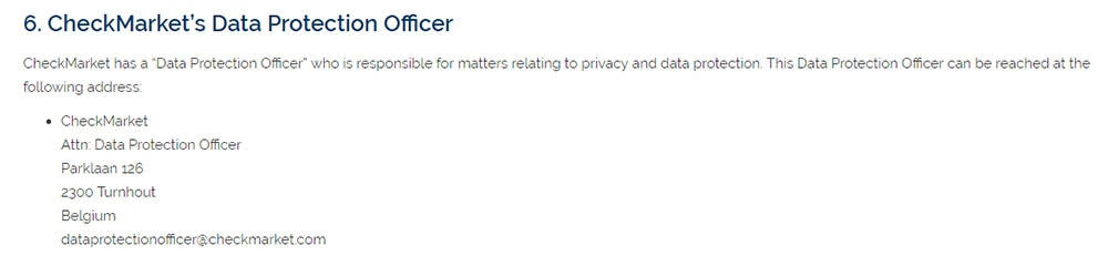 CheckMark's GDPR Privacy Policy: Data Protection Officer contact information