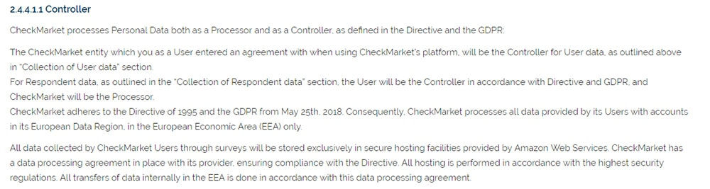 CheckMarket GDPR Privacy Policy: Data Controller clause for GDPR requirements