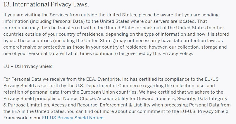 Eventbrite Privacy Policy: International Privacy Laws clause including Privacy Shield