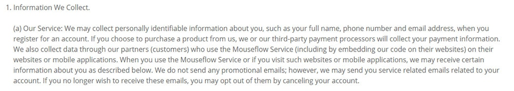 Mouseflow GDPR Privacy Policy: Information We Collect clause