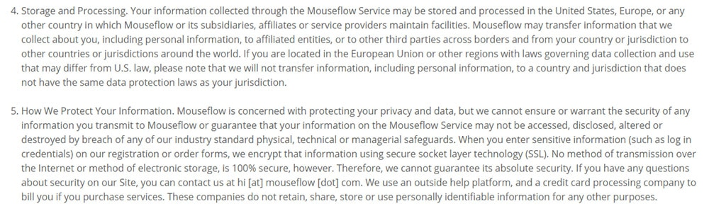 Mouseflow GDPR Privacy Policy: How We Store, Process and Protect Your Information clauses