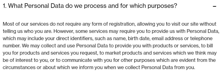 Novartis Privacy Policy: What Personal Data do we process and for which purpose clause