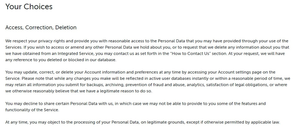 Pipedrive GDPR Privacy Policy: Access, Correction, Deletion clause