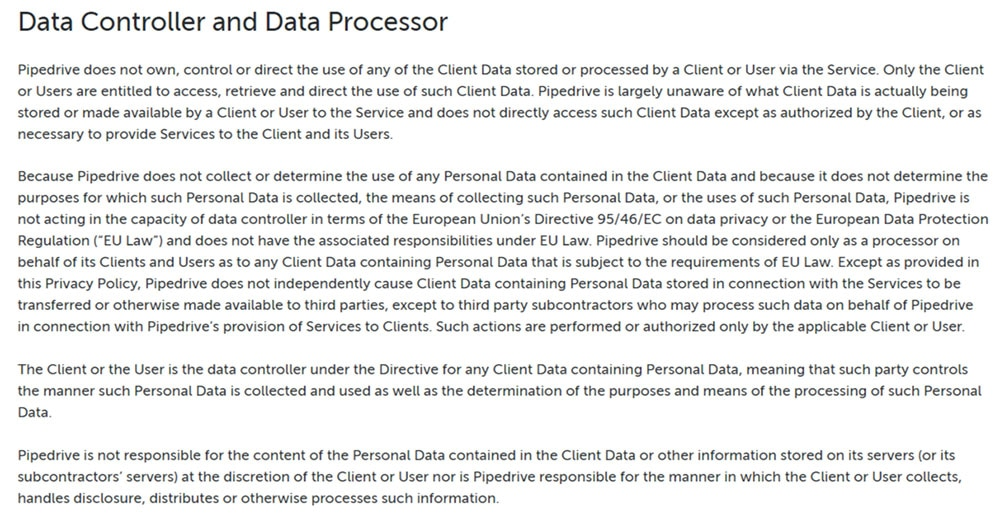 Pipedrive GDPR Privacy Policy: Data Controller and Data Processor clause