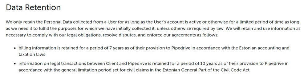 Pipedrive GDPR Privacy Policy: Data Retention clause