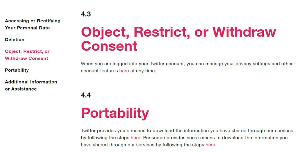 Twitter Privacy Policy Chapter 4 excerpt: GDPR rights: Object, Restrict or Withdraw Consent and Portability clauses