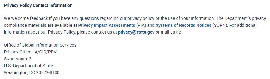 US Department of State Privacy Policy: Contact Information clause