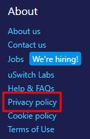 uSwitch Privacy Policy link in website footer