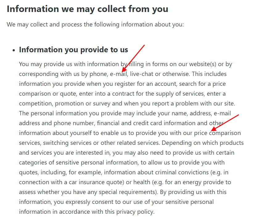 uSwitch Privacy Policy: Information You Provide clause with email address usage noted