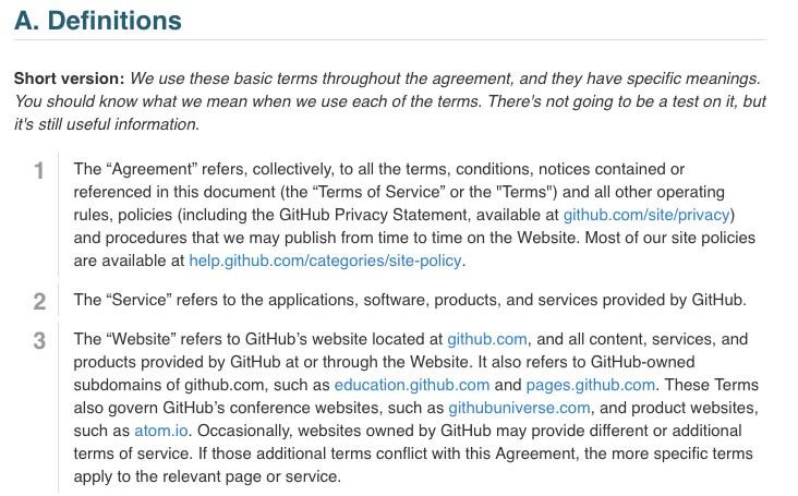 Github Terms of Service: Definitions clause