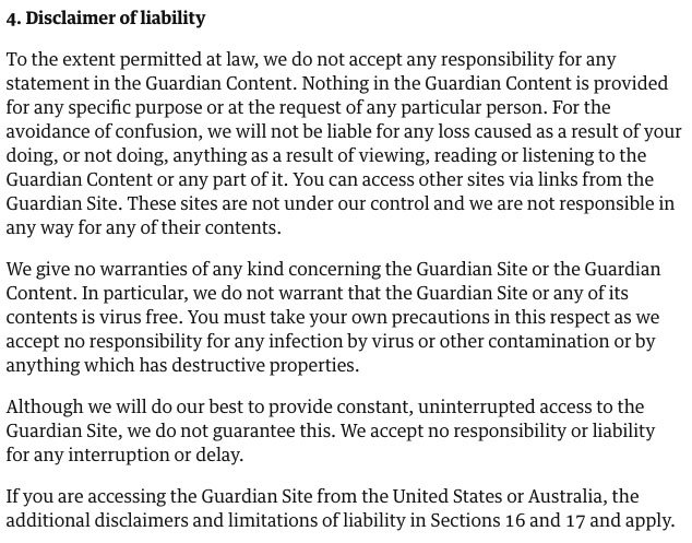 The Guardian Terms of Service: Disclaimer of Liability clause