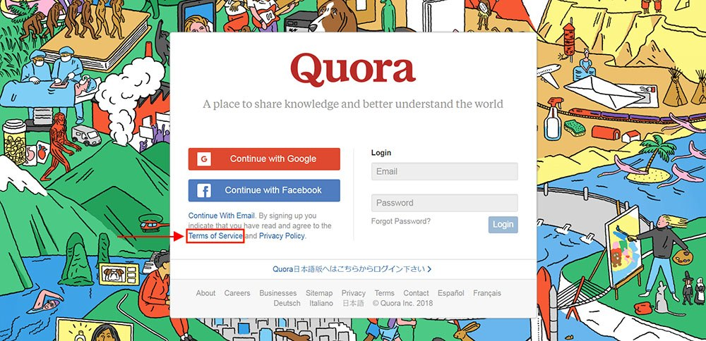 Quora's Terms of Service link highlighted on homepage