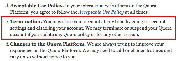 Quora Terms of Service: Termination clause