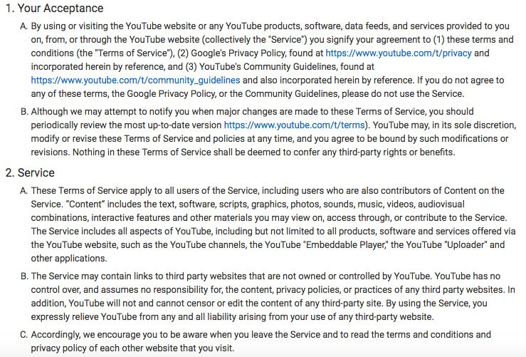 YouTube Terms of Service: Screenshot of introduction with Your Acceptance and Service clauses