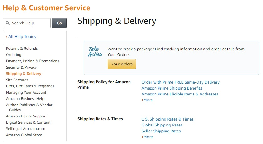 Amazon Help and Customer Service: Shipping and Delivery section