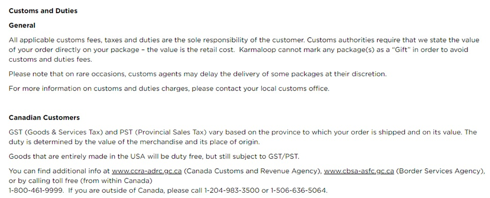 Karmaloop International Shipping Policy: Customs and Duties section
